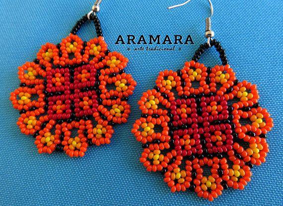Huichol de cuentas flor pendientes AF-0252 mexicano