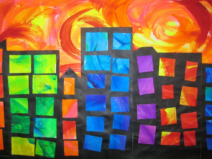 Van Gogh style skies. Paint and collage.