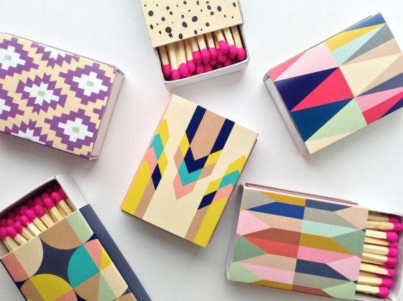 Boîtes d'allumettes décoratifs  set de 6 par BelloPop sur Etsy, $11.00