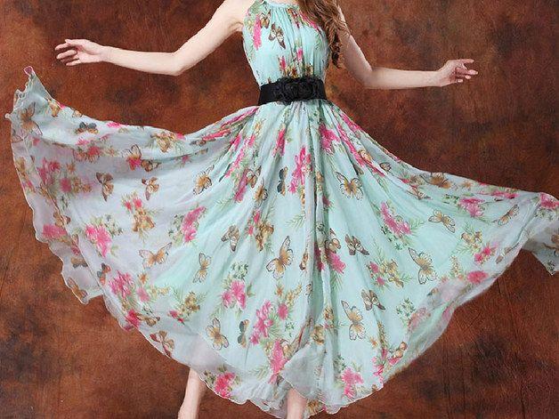 Maxi abiti - Donne estate fiore fiori abito - un prodotto unico di goodesign su DaWanda