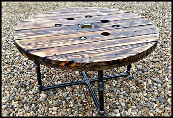 ••Industrial spool coffee table with piping base••