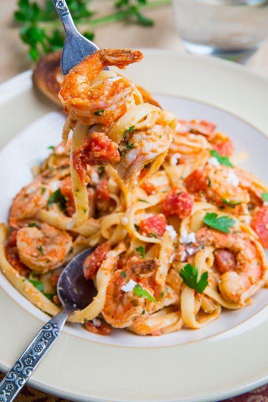 Shrimp Linguine in a Tomato and Feta Sauce @PastaFits