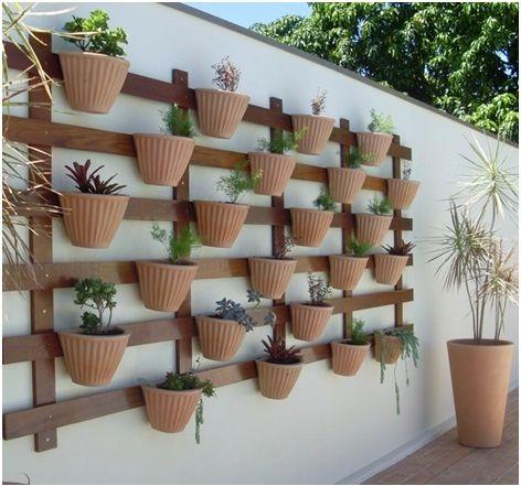 Jardim vertical em vasos