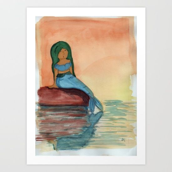 Watercolour painting of a mermaid watching the sunset