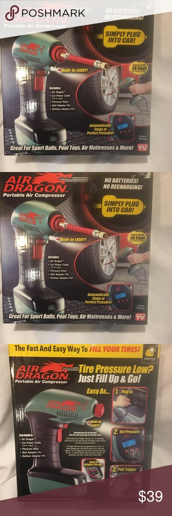 As Seen on TV Air Dragon Portable Air Compressor As Seen on TV Air Dragon Portable Air Compressor Emergency Automatic Stop Light bulbhead Other