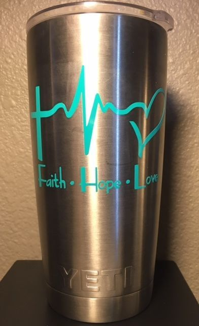 Faith Hope Love Decal for your Yeti Rambler Tumbler Sticker Laptop Cross  #CustomMade