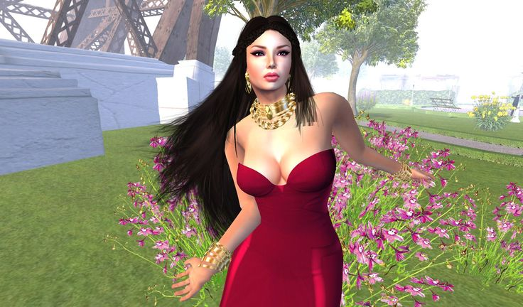 Red Satine gown from Jumo