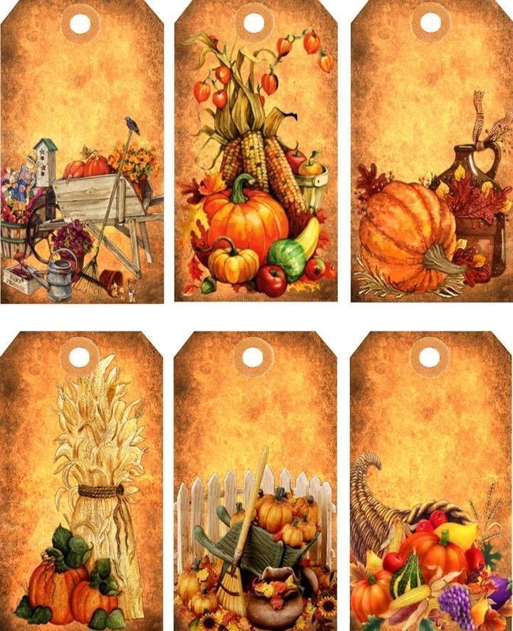 12 Hang Gift Tags Prim Thanksgiving Fall Images 834 B   eBay