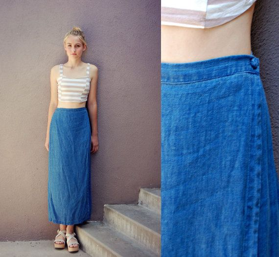 Linen Wrap Skirt S/M Indigo Denim Blue  Maxi by anthropolotique, $30.00