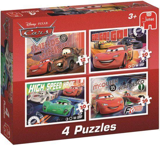 Disney Cars 4in1 Puzzel - 4 legpuzzels met ieder een verschillend aantal stukjes