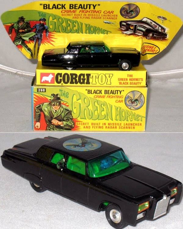 """1966 """"Black Beauty"""" (The Green Hornet) car by Corgi.  Funny thing - when I was a kid collecting Corgi cars, I didn't even know what a """"corgi"""" was.  Now I have two of these wonderful dogs!"""