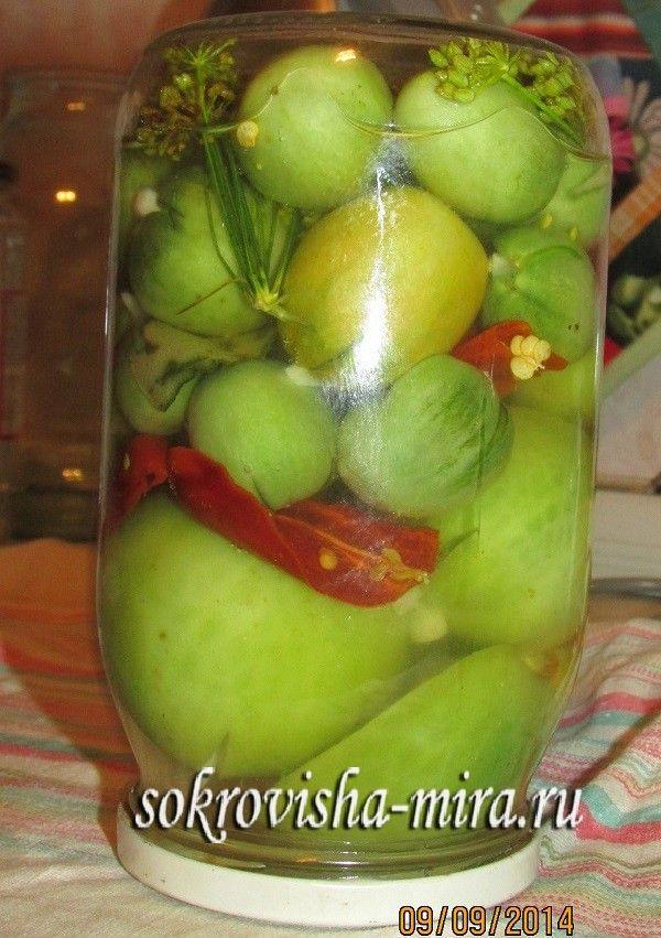 Маринованные зеленые помидоры салат