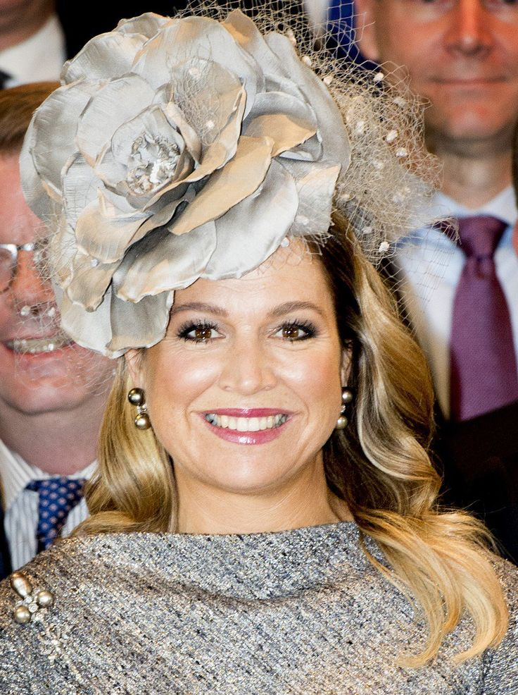 Máxima's fabulous hat is from Fabienne Delvigne and she also wore it at her daughter, Princess Alexia's, christening in 2005.