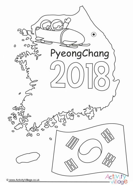 PyeongChang Winter Olympics 2018 colouring page