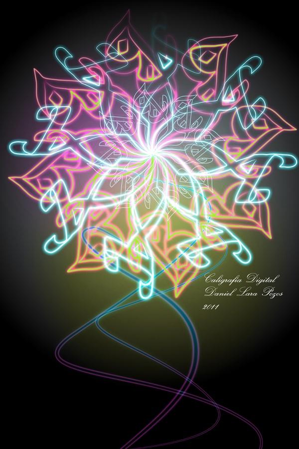 """Neon Calligraphy"" by Daniel Lara Pozos.  Digital Calligraphy"