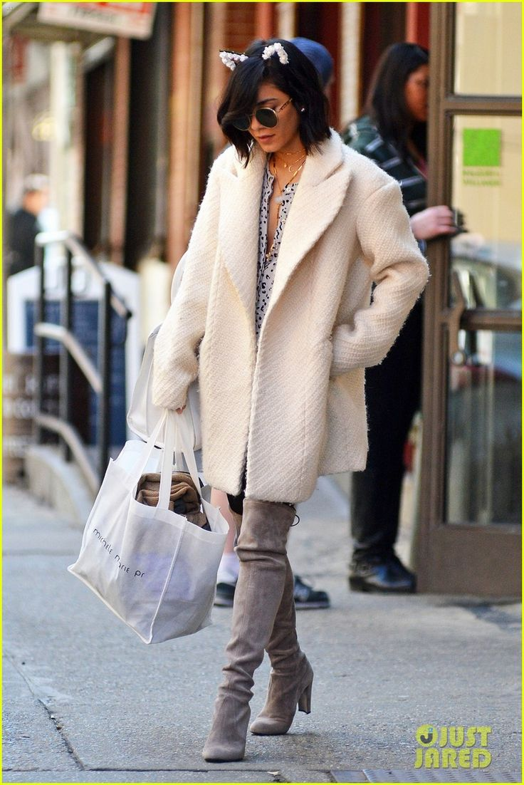 Vanessa Hudgens is oh-so-chic as she exits her apartment in the Soho section of New York City on Sunday (April 12).