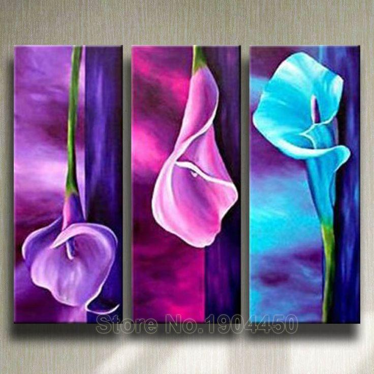 Great G nstige Gerahmte handgemachte lgem lde auf Leinwand Lila rosa blaue Blume gro e abstrakte Kunst Bild St cke Wandkunst Wohnzimmer Wohnkultur