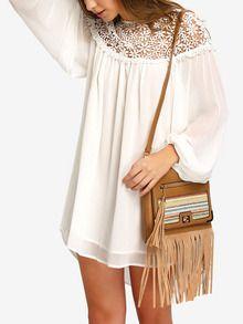 Chiffon Kleid langarm mit Häkeleinsatz -weiß