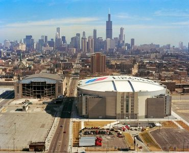 United Center (Bulls & Blackhawks) with old Chicago Stadium to Left