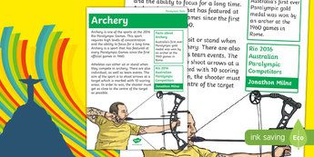 Australian Rio Paralympics 2016 Archery Display Facts Posters-Australia