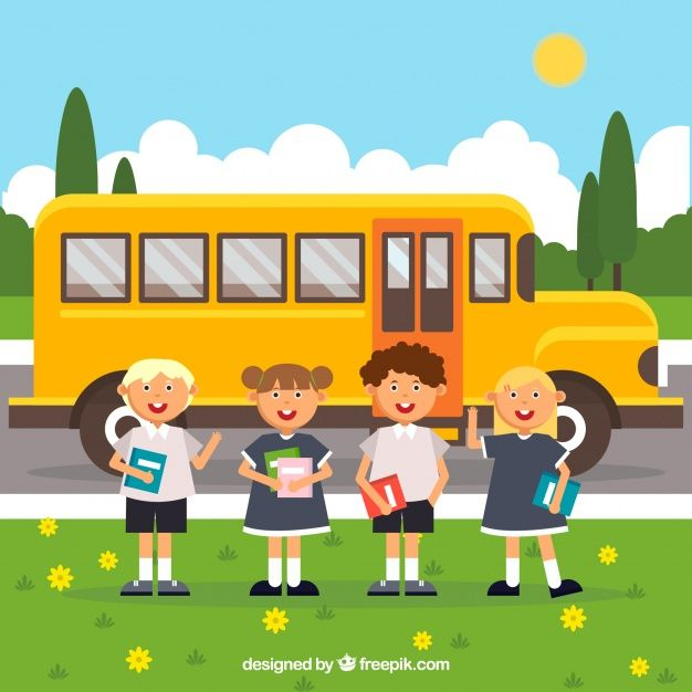 School bus and smiley students with flat design #Free #Vector  #School #Design #Children #Education #Nature #Character #Cartoon #Student #Study #Bus #Flat #Friends #Boy #Backtoschool #Smiley #Students #Flatdesign #Fun #Cartooncharacter #College