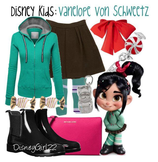 """Disney Kids: Vanelope Von Schweetz"" by disneygirl22 ❤ liked on Polyvore featuring Personal Charm, STELLA McCARTNEY, WithChic, Michael Kors, Hunter, Marc Jacobs, La Preciosa, RALPH, disney and disneybound"
