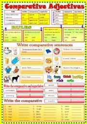 English worksheet: Comparative Adjective - (B/W & Keys)