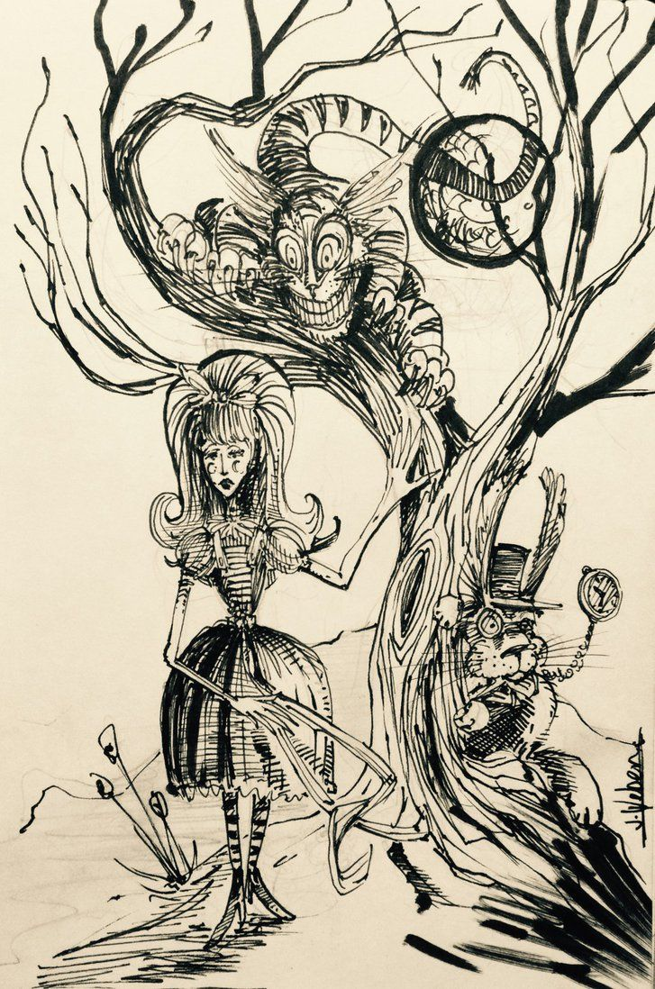 Sketch for my upcoming series based on Lewis Carroll's novel Alice's Adventures in Wonderland. #alice #aliceinwonderland #cheshirecat #lewiscarroll #whiterabbit #jonweber #jonweberart #alicewonderland