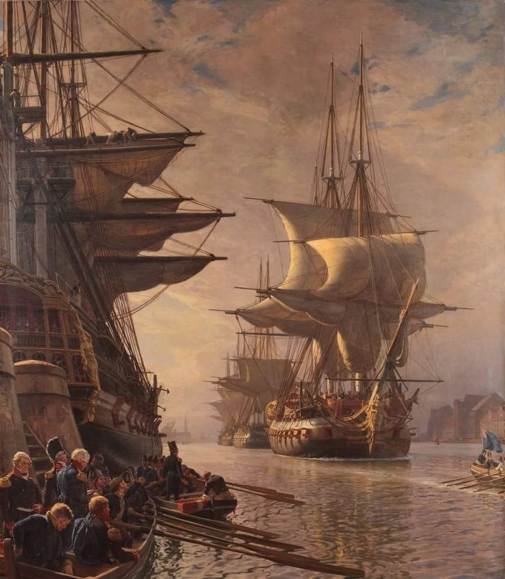 The Danish Navy is leaving the harbour for the last time in 1807.  👨‍🎨 Christian Ferdinand Andreas Mølsted (1862–1930) was a Danish artist