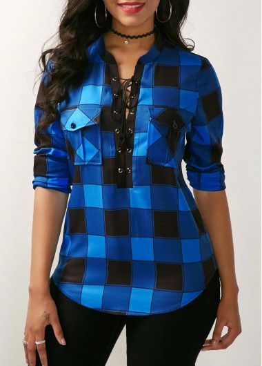 Lace Up Front Curved Plaid Blouse on sale only US$30.64 now, buy cheap Lace Up Front Curved Plaid Blouse at liligal.com
