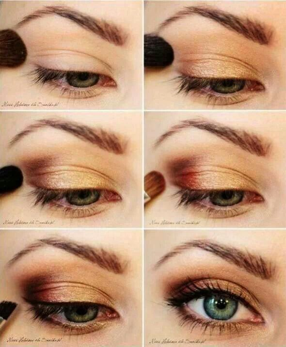 Nice golden, copper eyeshadow look that works beautifully for blue/green/hazel eyes!
