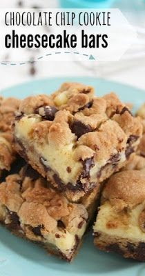 Chocolate Chip Cookie Cheesecake Bars,  #cheesecake #chocolate #cookie