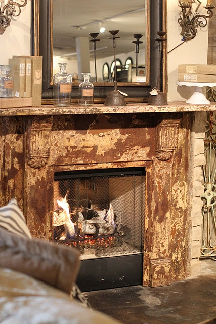 I love this mantel.  I have one almost identical.  Wonder if I could distress it like this.  Hmm...