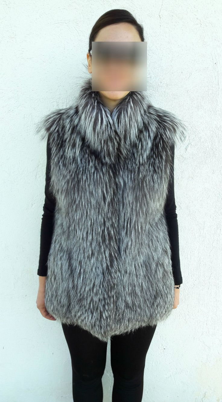 real Silver FOX Fur Vest FULL SKIN - Silberfuchs Pelzweste Volle Haut -Gilet di Pelliccia pelle piena - чернобурка меховой жилет полная кожа by DamianKastorianFurs on Etsy