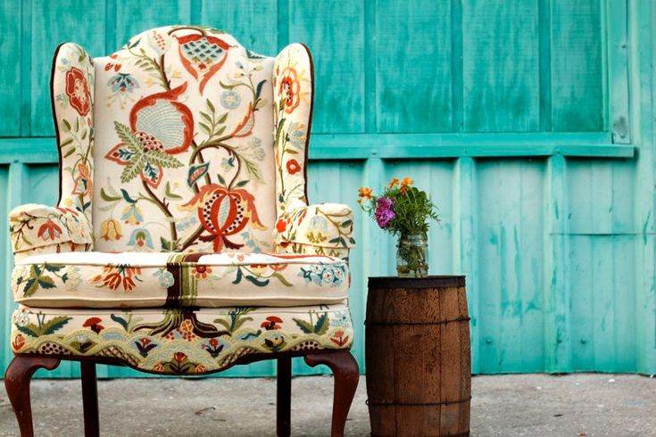 Original Vintage Queen Anne Style Wing Chair with Crewel Embroidery and Contrasting Outer Velvet #Etsy #JonathanAdler #GetChicSweepstakes