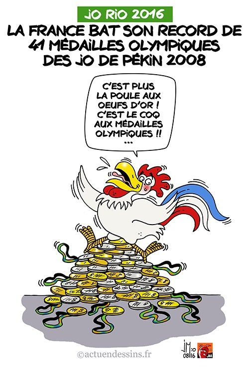 JM (2016-08-20) JO 2016:  La France bat son record de médailles des JO de Pékin !  En dépassant les 41 médailles olympiques des JO de Pékin de 2008, la France bat son record aux JO de Rio 2016…