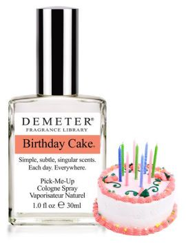 what goes into Demeter's Birthday Cake Pick-Me-Up cologne- chocolate cake with butter cream icing and pink icing flowers.