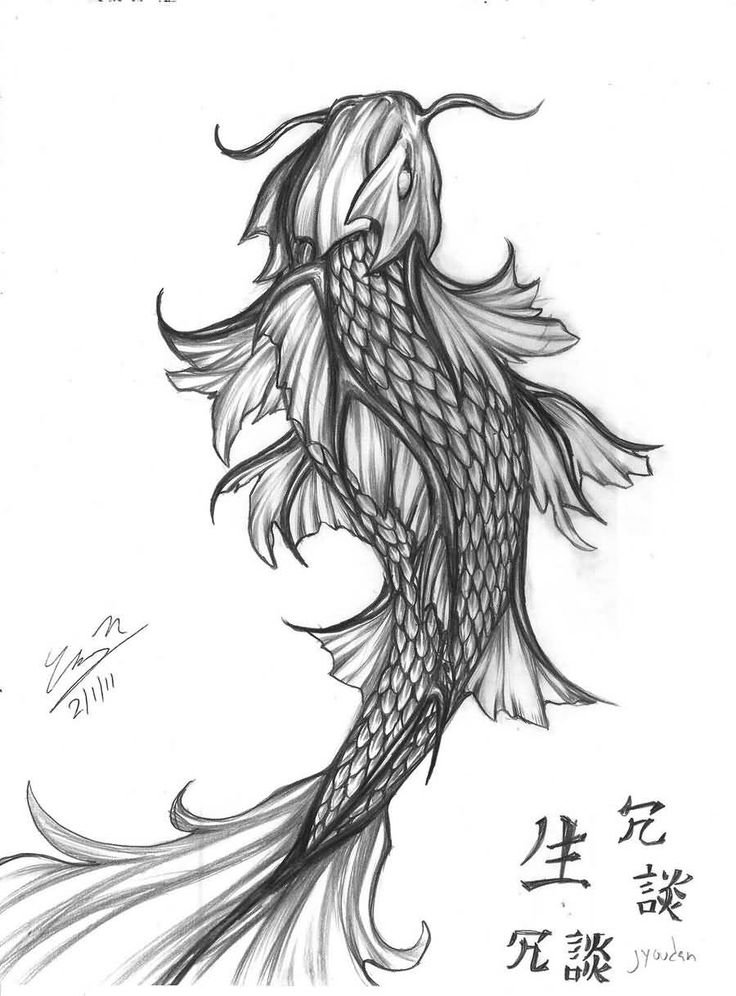 Japanese Koi Dragon Fish Tattoo Design