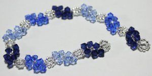 Winter Blues Bracelet, EASY Stitching TUTORIAL, use up 4 mm crystals and seedbeads