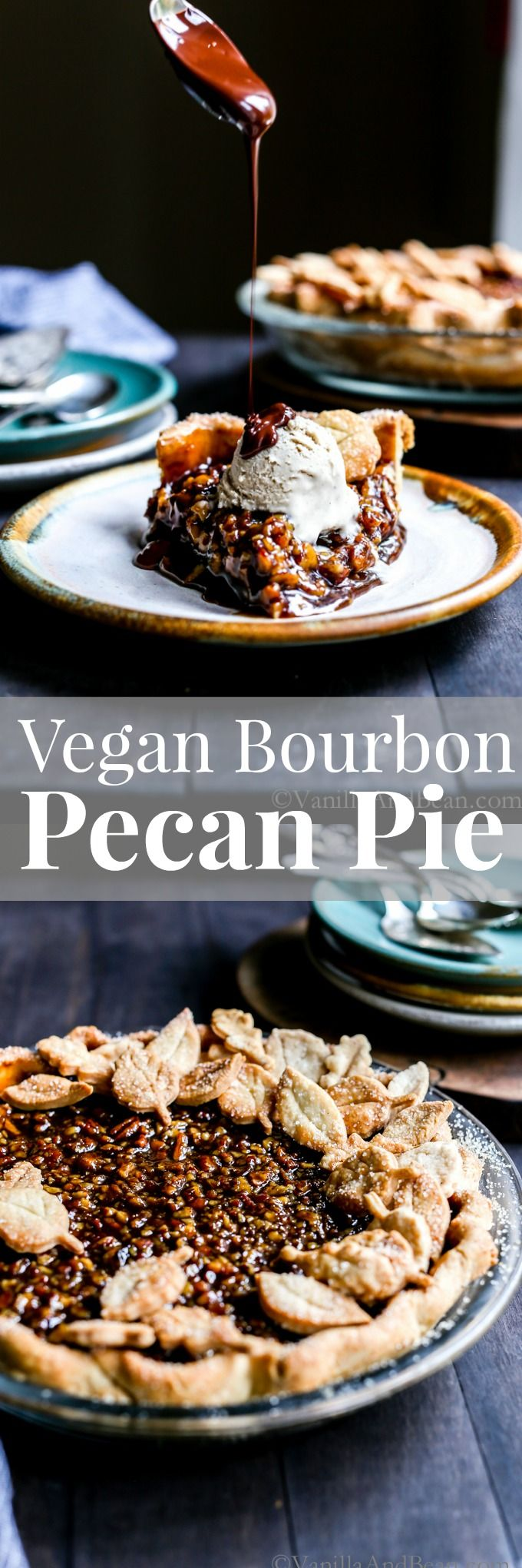 A holiday treat, this Vegan Bourbon Pecan Pie is dairy free, and egg free with a hint of molasses and a taste of bourbon! via @vanillaandbean