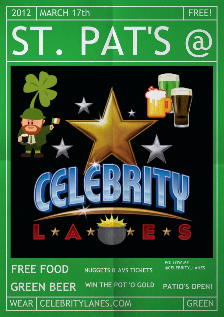 Celebrate St. Patrick's day at Celebrity Sports Center in #Centennial - Free food, green beer, patio is open.