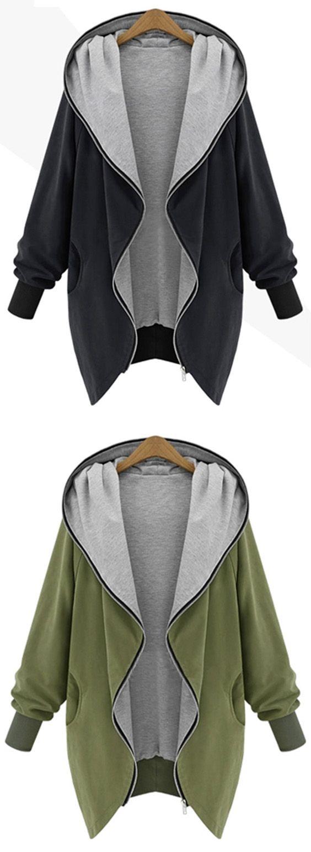 Plus Size Hooded Zip Up Coat