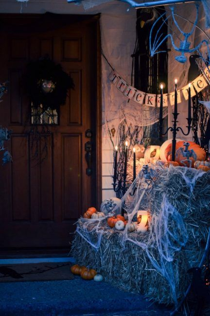 House of Five, 20 Fabulously Spooky Halloween Front Porches via A Blissful Nest
