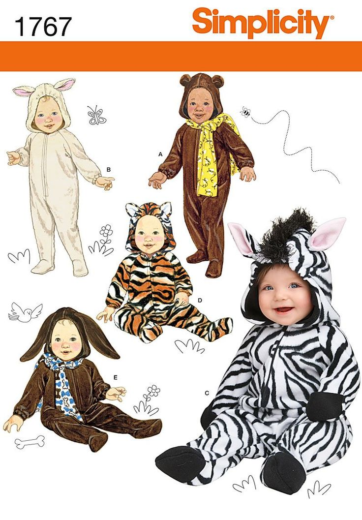 simplicity 1767 babies halloween costume sewing pattern zebra bunny bear tiger bunny this pattern is factory folded with instruction sheets - Halloween Costume Patterns For Kids