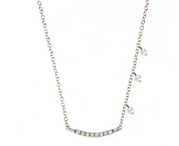 Meira T 14K Mini Diamond Bar Pearl Charm Necklace