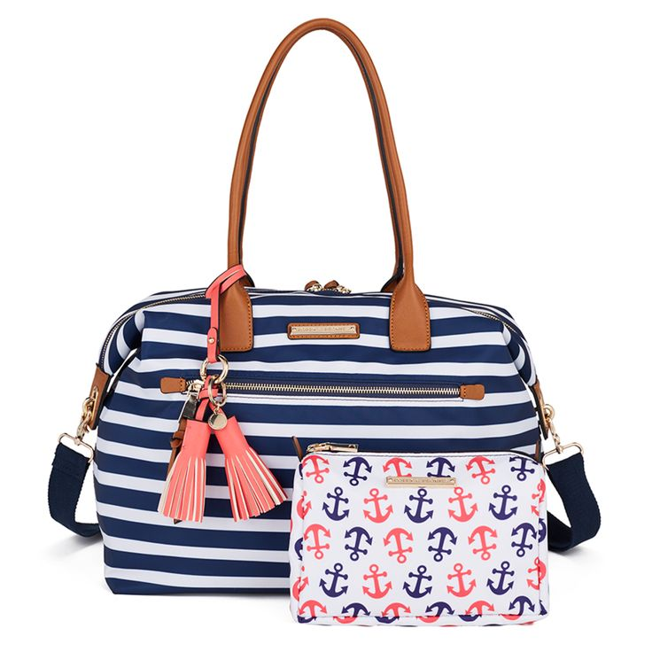 Get this amazing style: www.poppyandpeonies.com/jenna   The Getaway Bag (available in nautical and black). Complimentary cosmetic case included! ~$125~   For more info & features, please contact: jenna@poppyandpeonies.com