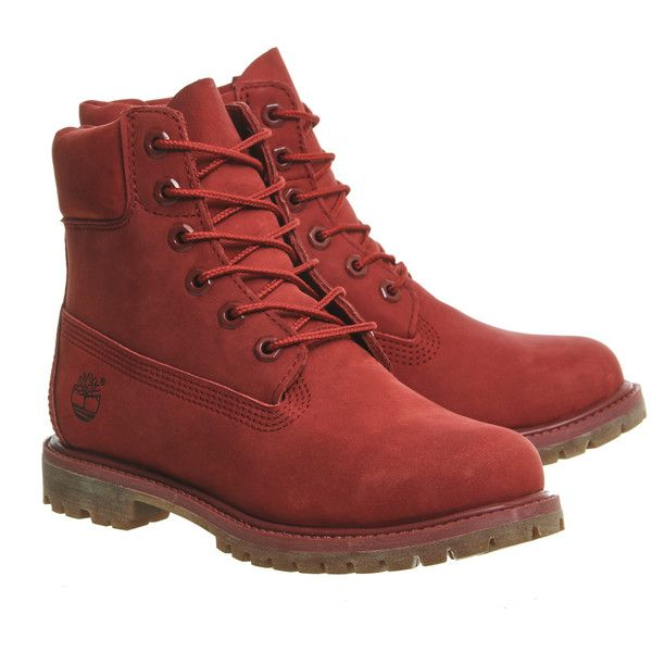Timberland Premium 6 Boots Red Nubuck ($200) ❤ liked on Polyvore featuring shoes, boots, nubuck leather boots, red boots, red shoes, nubuck leather shoes and nubuck boots