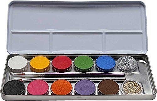 Eulenspiegel 212202 - Schminkpalette aus Metall, 2 Glitzer und 2 Pinsel, 10 Farben
