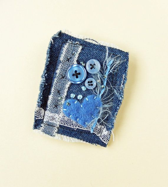 Blue Denim Textile Brooch Pin Buttons and Beads by mbSTITCH