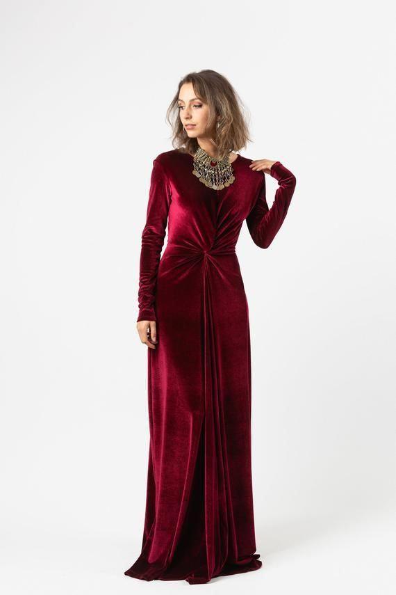 Goldhoopearringswithpearldrop In 2020 Velvet Bridesmaid Dresses Oxblood Dress Long Sleeve Velvet Dress
